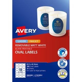 AVERY L7101REV OVAL WHITE MATTE 10 SHEETS