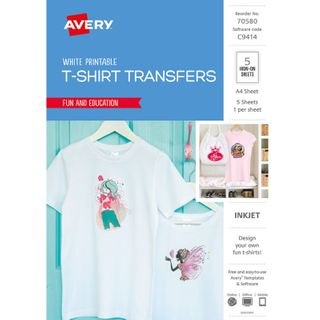 AVERY T-SHIRT TRANSFERS A4 WHITE PKT 5