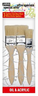 PEBEO 3 BRUSH SET WHITE BRISTLE SPALTERS