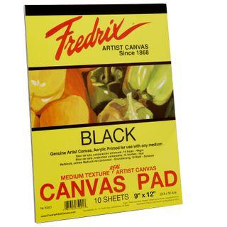 """FREDRIX BLACK CANVAS PAD 35001 9"""" X 12"""""""
