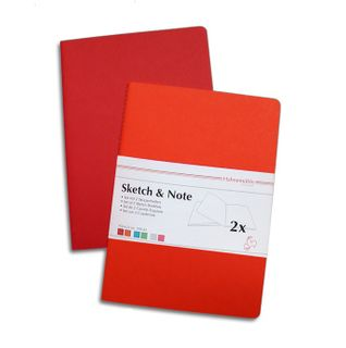 HAHN SKETCH & NOTE 2 X A5 BOOKLETS RED