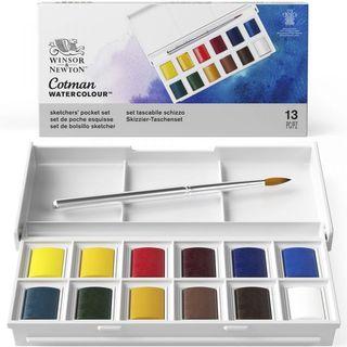 W&N COTMAN SKETCHERS POCKET BOX SET 12 X HALF PANS