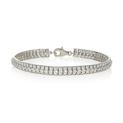 SILVER 4 CLAW SWAROVSKI BRACELET WIDE BASE (4.60CT)