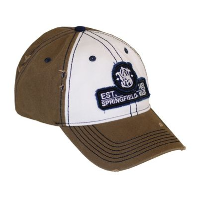 S&W Brown & White Frayed Cap/Hat
