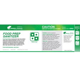 GREEN RHINO® HALF LABEL K8 FOOD PREP SANITISER