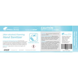 GREEN RHINO® HALF LABEL HAND SANITIZER NON-FOAMING