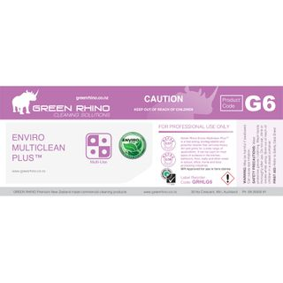 GREEN RHINO® ENVIRO MULTICLEAN PLUS G6 HALF LABEL