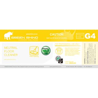 GREEN RHINO® ENVIRO NEUTRAL FLOOR CLEANER G4 HALF LABEL