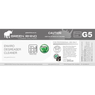 GREEN RHINO® ENVIRO DEGREASER CLEANER G5 HALF LABEL