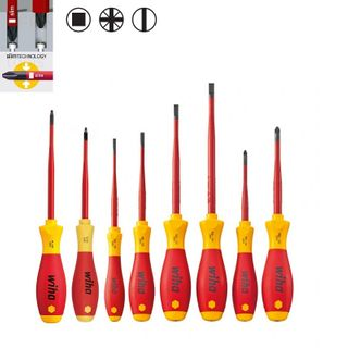 8PCS SCREWDRIVER SET SLIMFIT SLOTTED, POZI, SQUARE 1000V