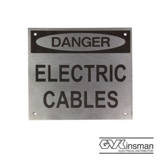 WARNING PLATE: DANGER ELECTRIC CABLES, 150 X 150MM, S/STEEL