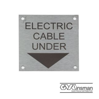 LABEL PLATE: ELEC CABLE UNDER, 75 X 75MM, STAINLESS STEEL