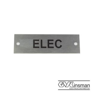 LABEL PLATE: ELEC, 80 X 25MM, STAINLESS STEEL
