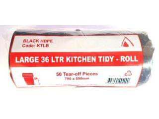 Bin Liner 36Ltr Black Roll 1000