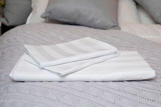Jubilee Sateen 3cm Stripe Sheeting 330 Thread Count