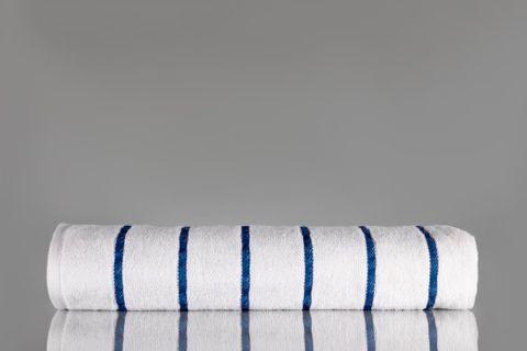 Pin Stripe Pool Towel Blue