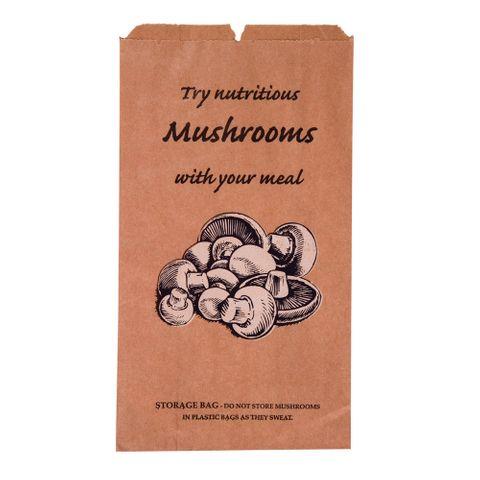 Mushroom Paper Bag 275mm(L) x 165mm(W) + 75mm(G) - BOX=500
