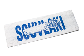 Printed White Souvlaki Paper Bag Greaseproof Lined 285mm(L) x 100mm(W) + 40mm(G) - Pack of 500