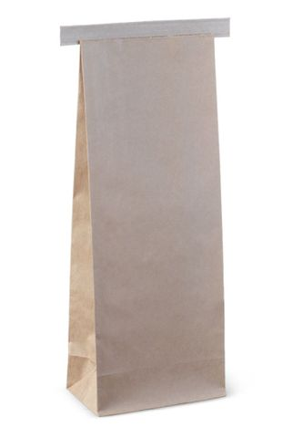 Small Brown Paper Polylined Paper Tin Tie Bags 235mm(L) x 88mm(W) + 47mm(G) - Box of 500