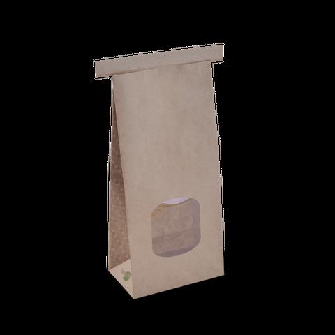 Medium Brown Paper Polylined Window Tin Tie Bags 246mm(L) x 115mm(W) + 70mm(G) - Box of 400