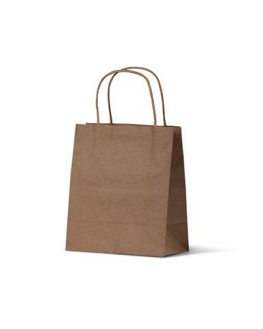 Toddler Brown Loop Handle Paper Carry Bags 200mm(H) x 170mm(W) + 100mm(G) - EACH =1 / BOX=500