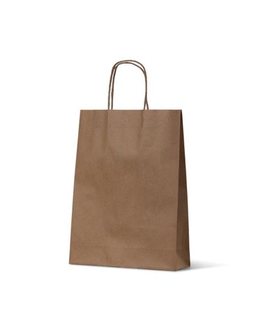 Small Brown Loop Handle Paper Carry Bags 350mm(L) x 260mm(W) + 110mm(G) - EACH =1 / BOX=250