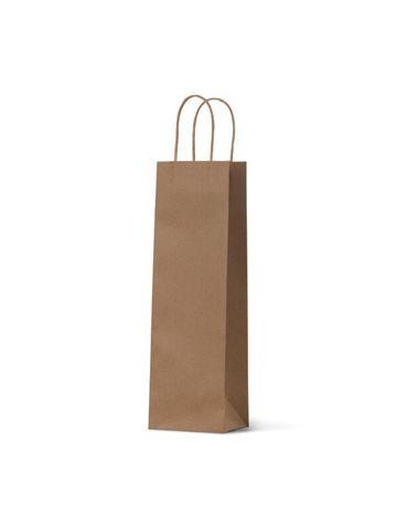 Single Brown Wine Bottle Loop Handle Paper Carry Bags 360mm(L) x 110mm(W) x 90mm(G) - PACK=10 / BOX = 100