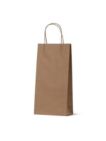 Double Brown Wine Bottle Loop Handle Paper Carry Bags 360mm(L) x 180mm(W) x 90mm(G) - PACK=10 / BOX=100