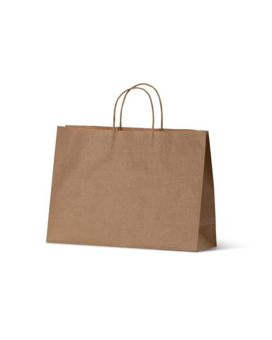 Small Brown Boutique Loop Handle Paper  Carry Bags 250mm(L) x 350mm(W) x 110mm(G) - EACH=1 / BOX=250