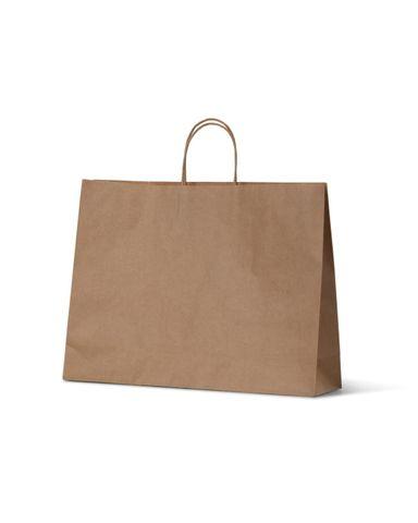 Midi / Medium Brown Boutique Loop Handle Paper Carry Bags 310mm(L) x 420mm(W) + 110mm(G) - EACH=1 / BOX=250