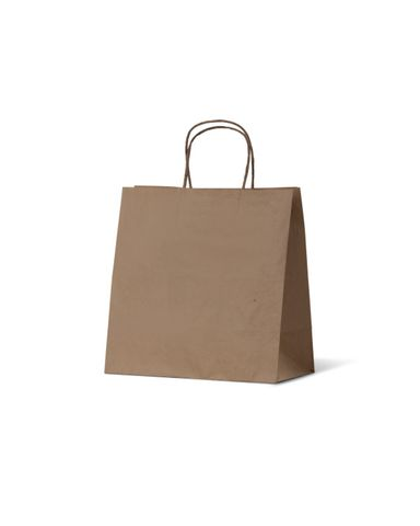 Small Brown Take Away Uber Loop Handle Paper Bags w/Handle 280mm(L) x 280mm(W) + 150mm(G) - Box of 250