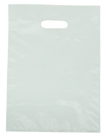 Large White LDPE Gloss Boutique Bags Plastic 530mm(L) x 415mm(W) - PACKET=100 / BOX=1,000