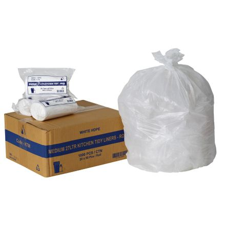 Medium Kitchen Tidy Bags 27lt Plastic Garbage Bags - Box of 1,000