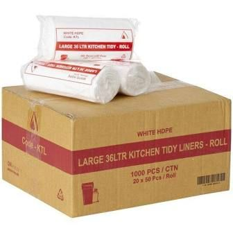 Garbage Bags White Low Duty Plastic 36lt - Box of 1,000