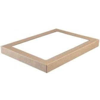 Medium Brown Cardboard Catering Box Lids with Window 363mm(L) x 255mm(W) x 30mm(H) - PACK=10 / BOX=100