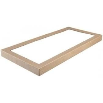 Large Brown Cardboard Catering Box Lids with Window 562mm(L) x 255mm(W) x 30mm(H) - PACK=10 / BOX=50