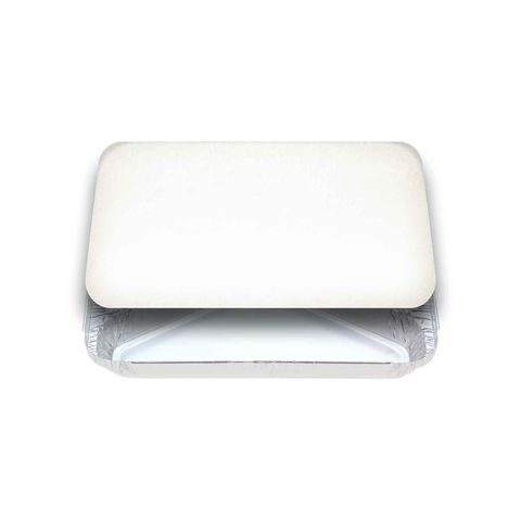 Large Rectangular White Lids for 7231 Foil Container - Packet of 100