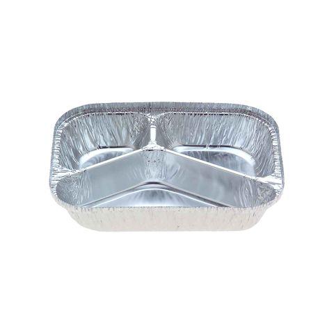 Medium 3 Cavity Meal Foil Tray 700ml 205mm(L) x 155mm(W) x 34mm(H) (7420) - Box of 500