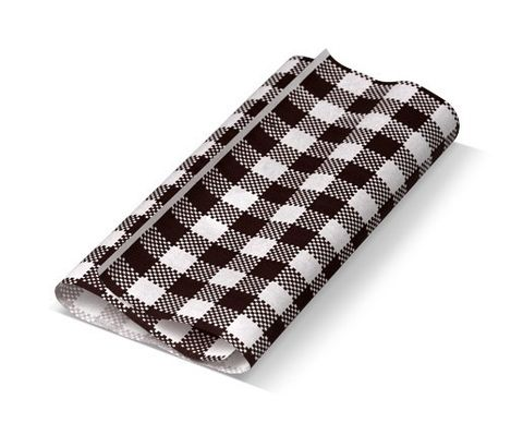 Premium Printed Black/White Check Greaseproof Paper 4 Cut 330mm(W) x 220mm(L) - Packet of 1600