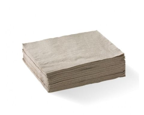 Natural / Brown 1 Ply 1/4 Fold Luncheon Serviettes 300mm x 300mm - Box of 3,000