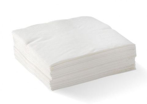 White 2 Ply Cocktail Serviettes Corner Embossed 240mm x 240mm - PACKET=8 / BOX=2,000
