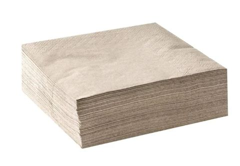 Natural / Brown 2 Ply Cocktail Serviettes Corner Embossed 240mm x 240mm - Box of 2,000