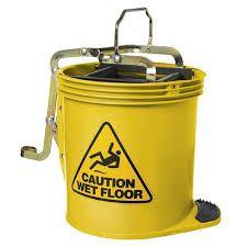 Heavy Duty 16L Yellow Plastic Mop Bucket with Steel Wringer - Each