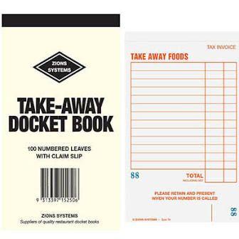 Large Restaurant 100 Page Docket Books Single Sheet - EACH=1 / BOX=100