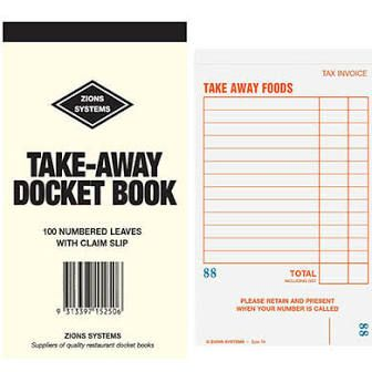 Take Away Docket Books With Claim Slip Fish and Chip - EACH=1 / BOX=100