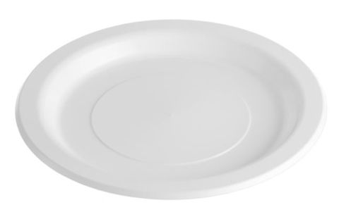 """Plastic Round White Plate 9"""" / 230mm - PACK=50 / BOX=500 - CLEARANCE!"""