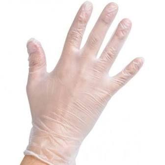 Vinyl Gloves Medium Clear Powder Free - PACK=100 / BOX=1,000