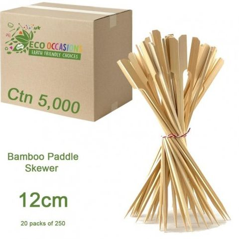 Bamboo 12cm Paddle Skewer - PACK=250 / BOX=5,000