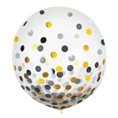 2ft Confetti Latex Weighted Balloon Inflated - Each