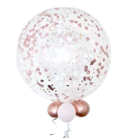 """3ft Confetti Latex Weighted Balloon Inflated With 5""""Collar - Each"""